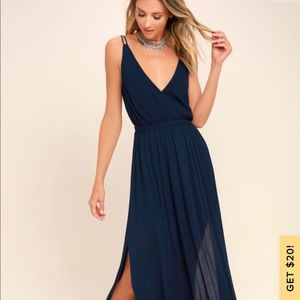 Lulus Lost in Paradise Maxi Navy Blue XL